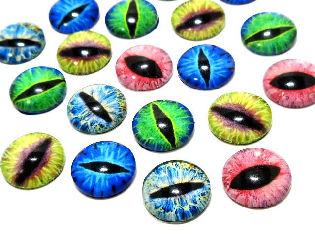 猫の目、爬虫類の目ガラスカボション 12mm(カラーミックス)[10個入り] , アクセサリーパーツの販売